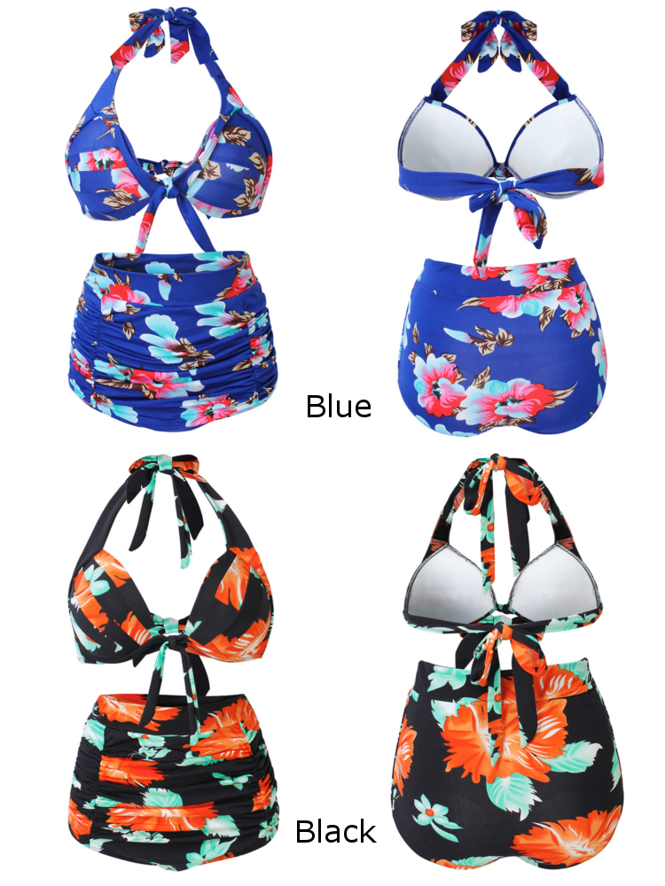 Women Sexy Flower Printed Halter Swimwear High Waist Bikini Set