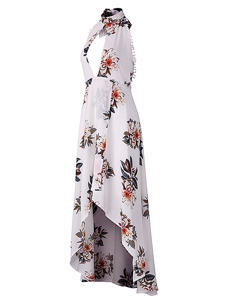 Sexy Women Irregular Hem Flowers Printed Halter Backless Dresses
