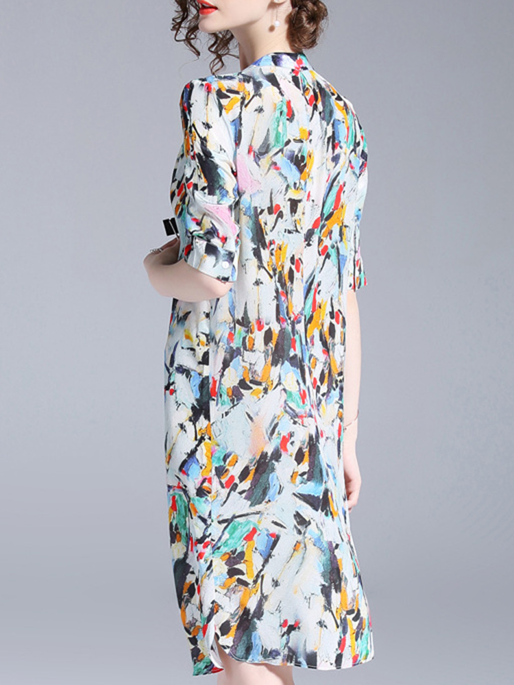 Elegant Floral Print V-neck Half Sleeve Dress