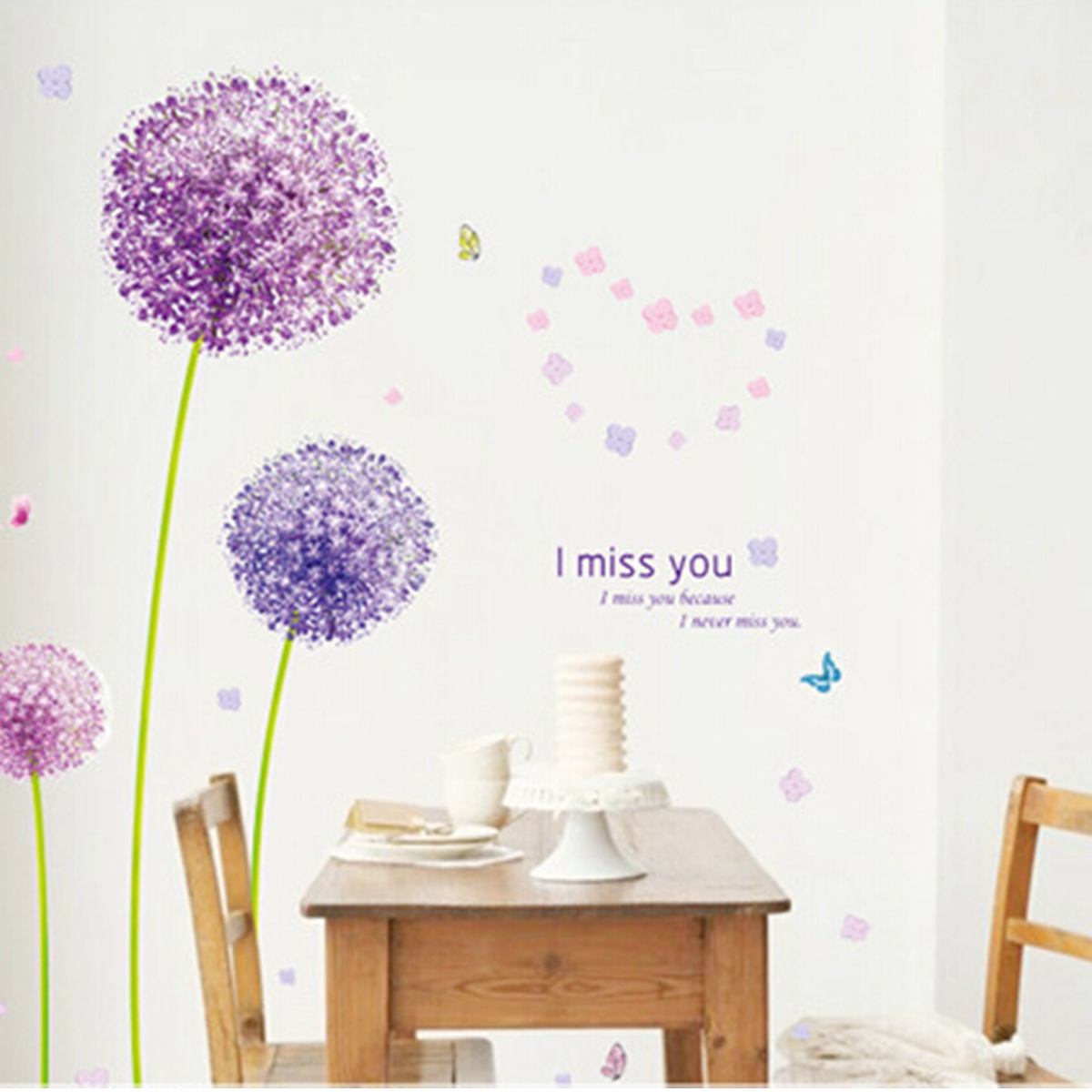 Removable I Miss You Dandelion Flower Butterfly Art Wall Stickers Mural Decoration