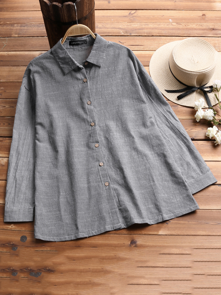 Plus Size Women Casual Long Sleeve Lapel Stripe Blouse Shirt