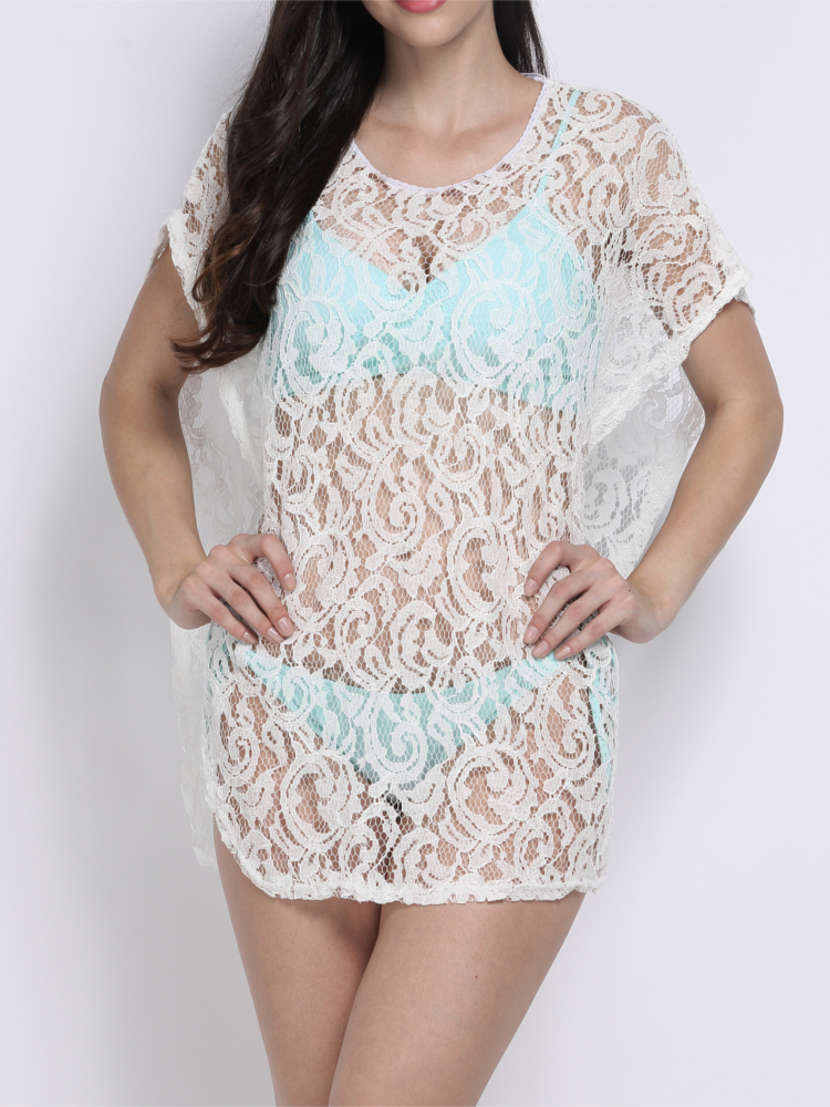 Women Sexy Hollow Out White Bat Sleeve Lace Knit Pullover Beach Cover Up
