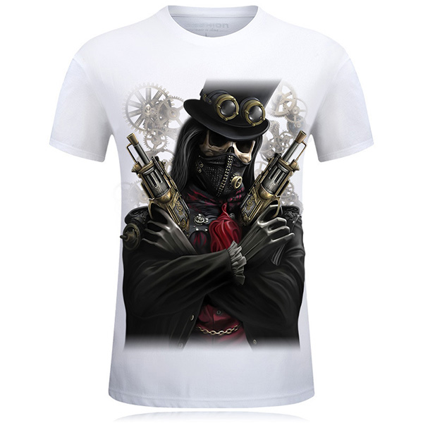 Plus Size S-4XL Black Skull 3D Printed Short Tees Casual Round Neck Short Sleeved T-shirt