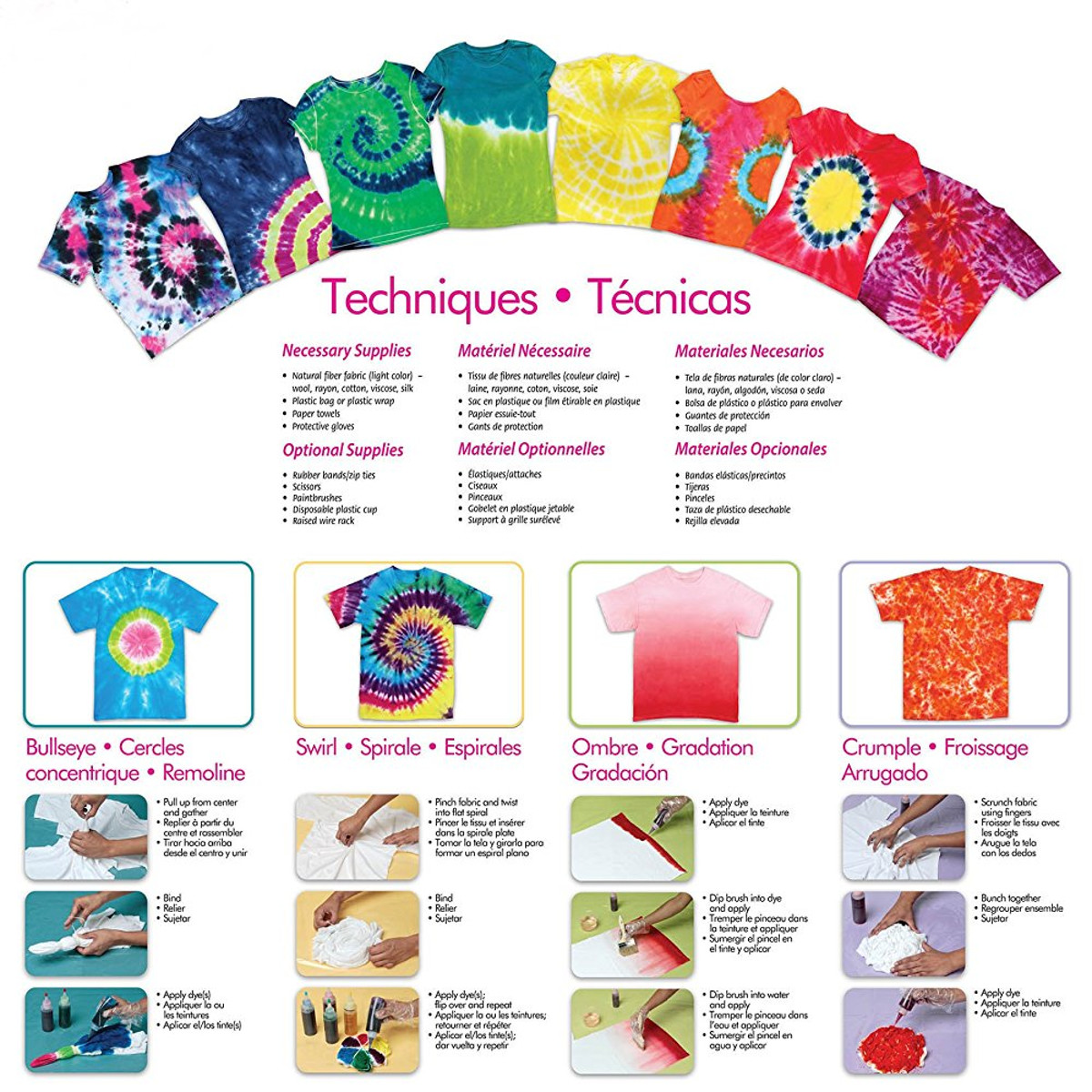 12 Colour Tie-Dye Kit for Clothes Tie Dye Tools with Rubber bands Vinyl Gloves