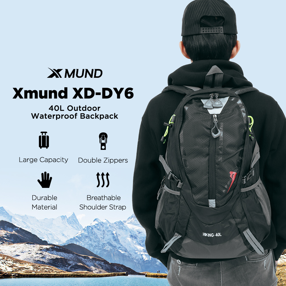 Xmund XD-DY6 40L Waterproof Nylon Sports Backpack Men Women Unisex Rucksack for Travel Hiking Climbing Camping Bag Mountaineering Cycling