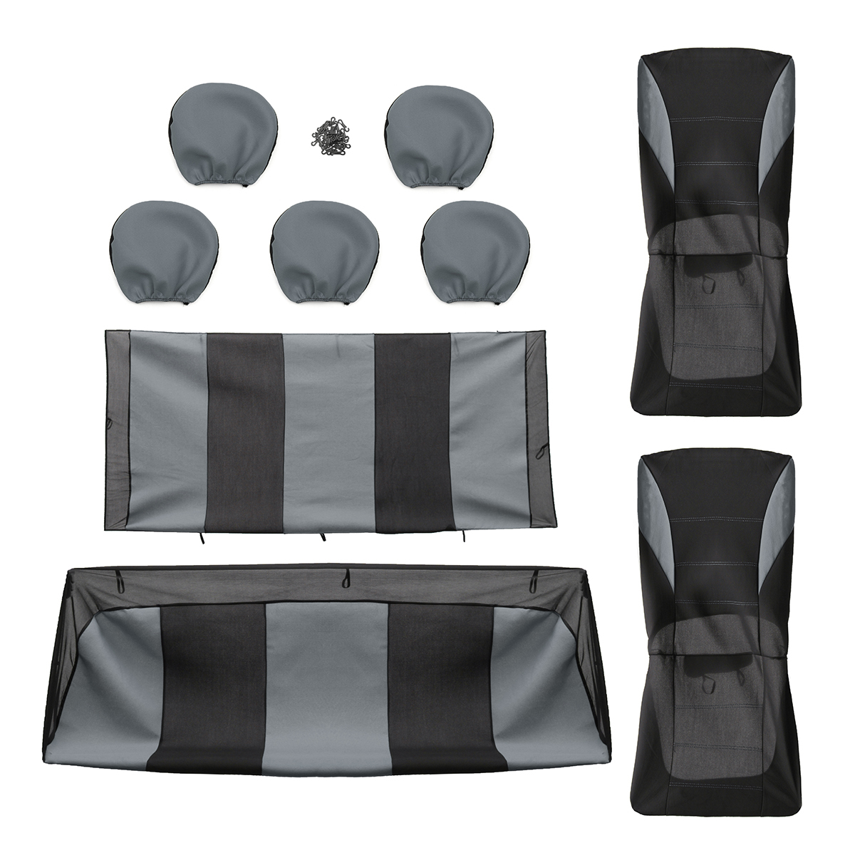 Universal Four Seasons Grey Black Fabric Car Seat Cover Protectors 9pc Full Set Airbag Compatible