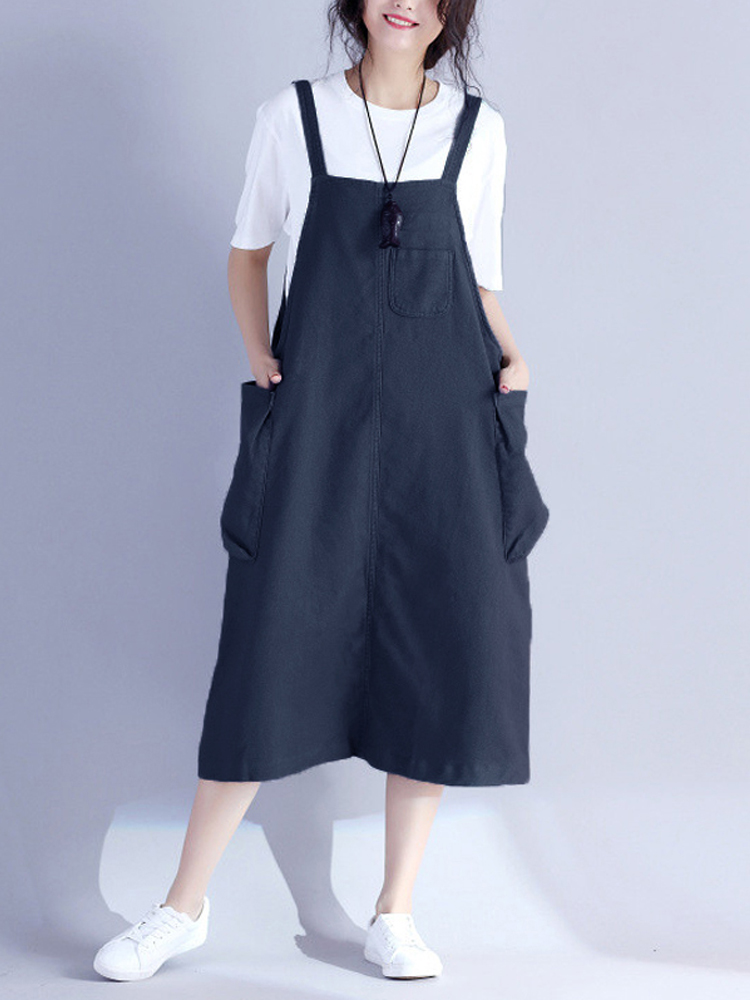 Women Loose Vintage Sleeveless Pocket Retro Dress