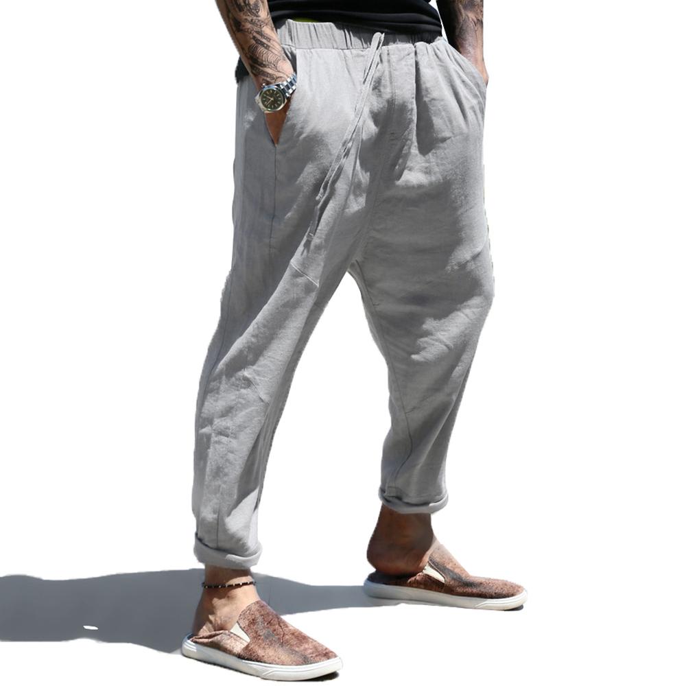 Mens Casual Loose Cotton Drawstring Elastic Waist Pants