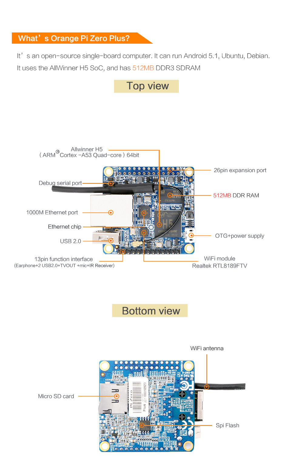 Orange Pi Zero Plus H5 Quad Core Cortex-A53 Open Source 512MB DDR3 Development Board Mini PC