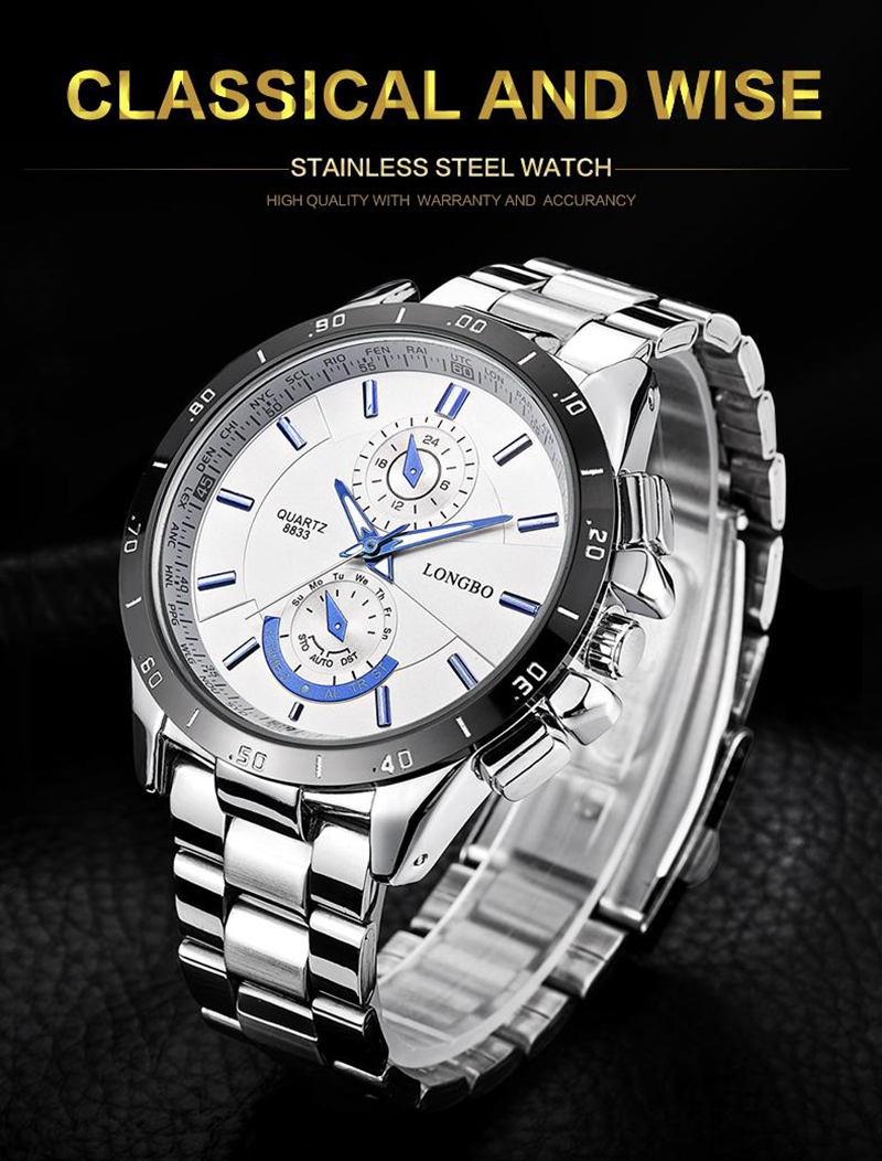 LONGBO 8833 Men Watch Luminous Stainless Steel Fashion Casual Quartz Wrist Watch