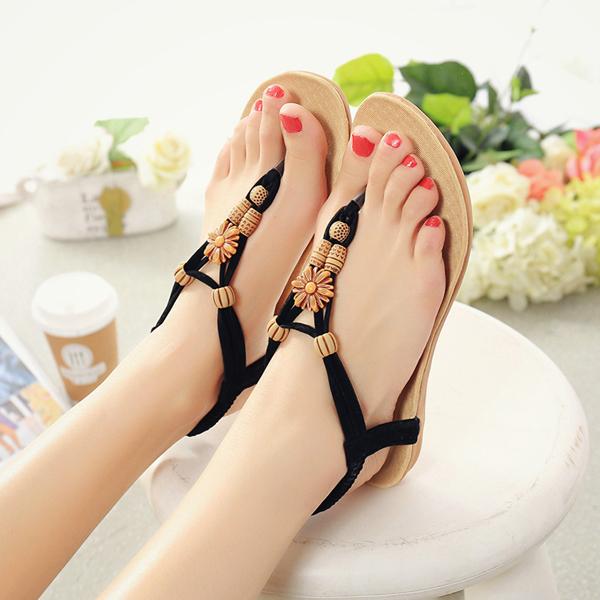 Women Summer Bohemian Beach Flat Sandals