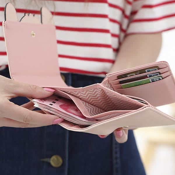 Women PU Leather Cute Coin Bag Fox Shape Wallet Purse