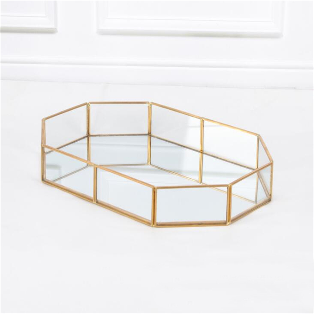 2 Size Mirror Glass Tray Octagon Cosmetic Makeup Desktop Organizer Jewelry Display Stand Holder
