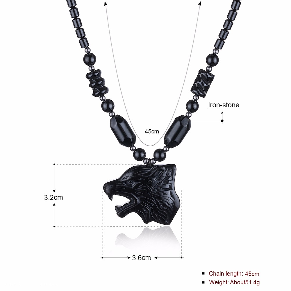 Natural Stone Wolf Head Cool Men Women Jewelry Unisex Necklace