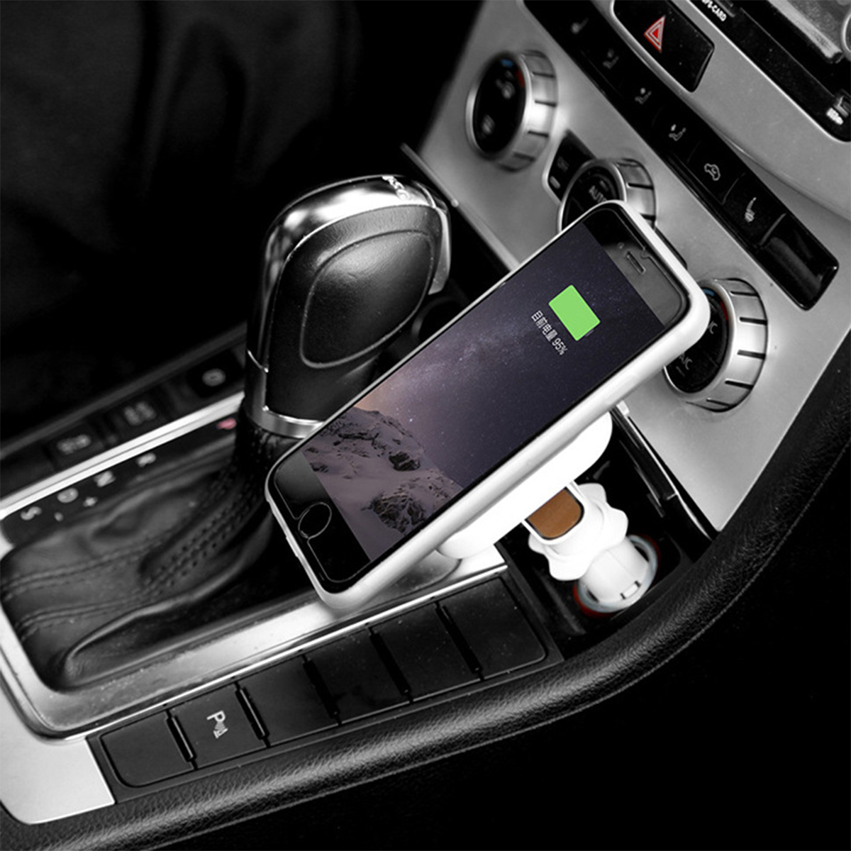 qi wireless car cigarette lighter charger magnetic adapter. Black Bedroom Furniture Sets. Home Design Ideas