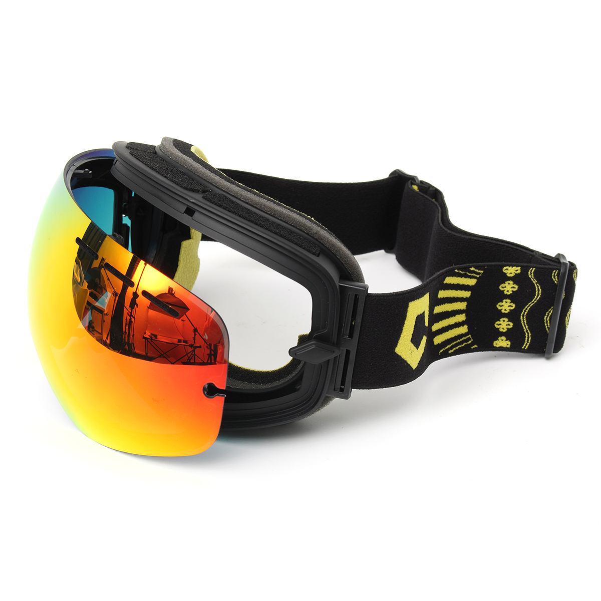 Motorcycle Ski Goggles Anti Fog UV Protection Dual-Lens Off-Road Snowboard Black Frame
