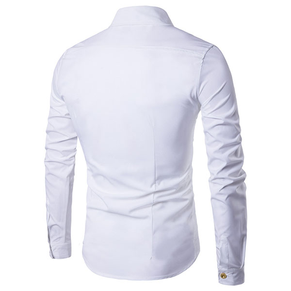 Fashion Personality Golden Button Double Breasted Side Placket Slim Dress Shirt for Men