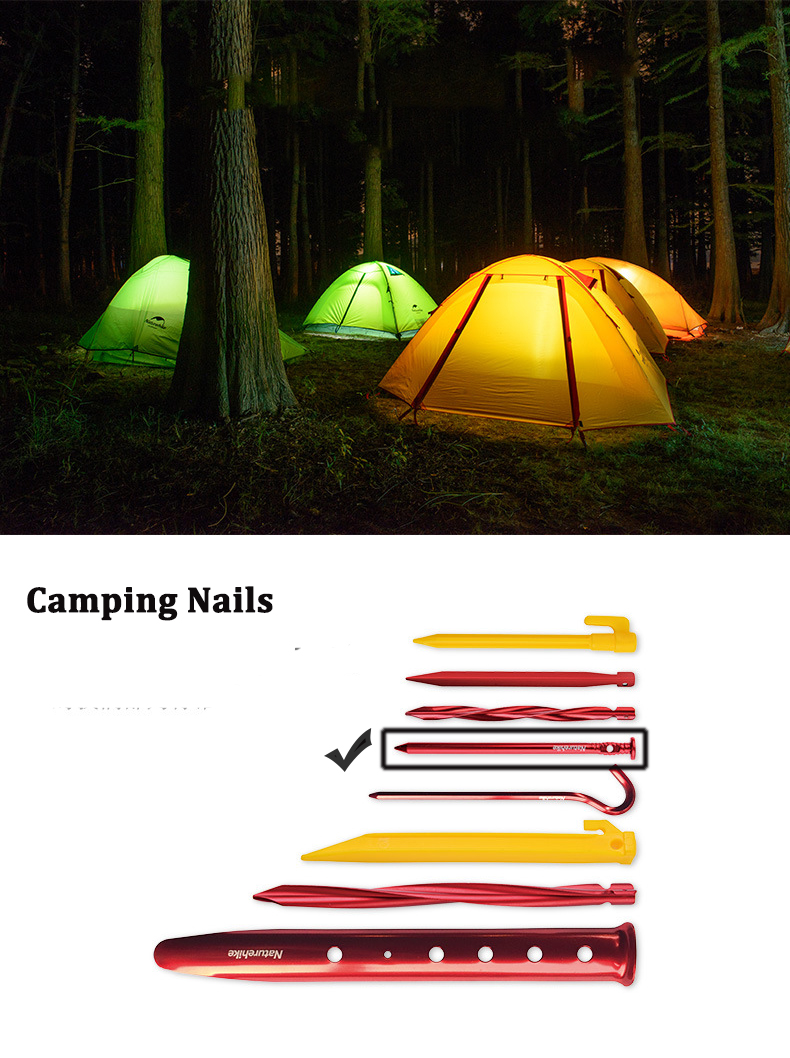 Naturehike NH17D024-D 6Pcs Tent Pegs 7001 Aluminium Alloy Nails Camping Stake Accessories