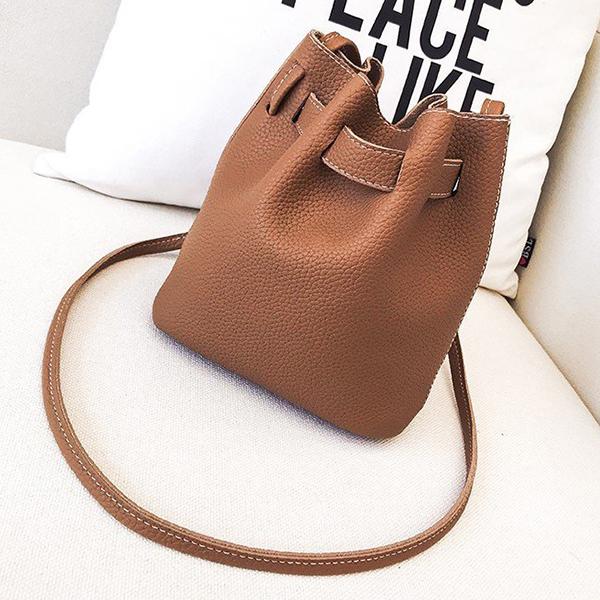 Women Faux Leather Fashion Casual Bucket Bag Shoulder Bag