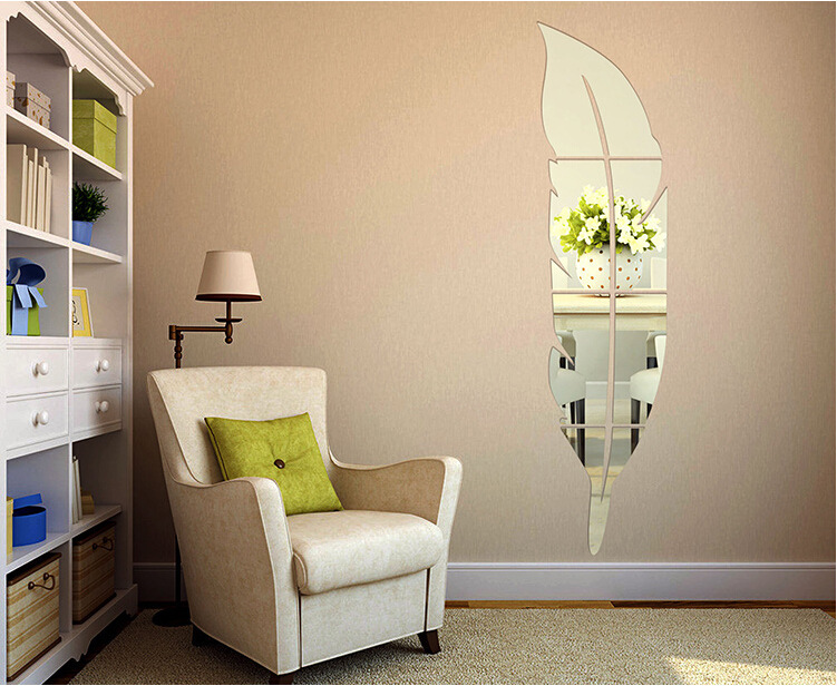 Honana Removable 3D Feather Wall Stickers Dressing Mirror Bathroom Decoration Self-adhesive Mirror