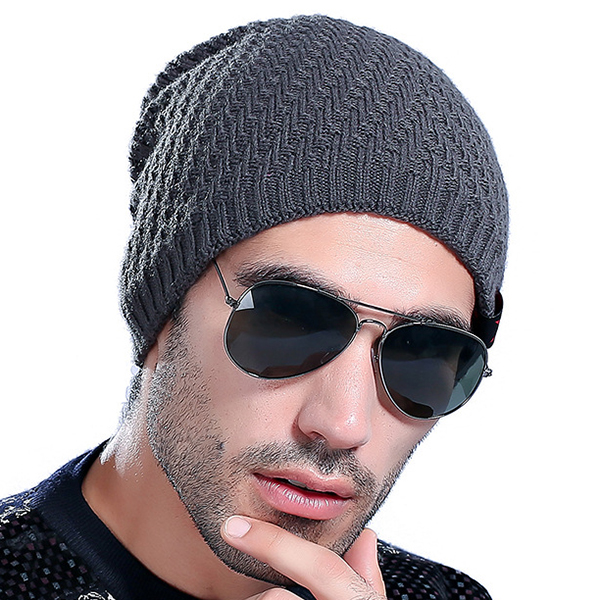 Mens Thick Plus Velvet Lining Warm Knitted Beanie Hat