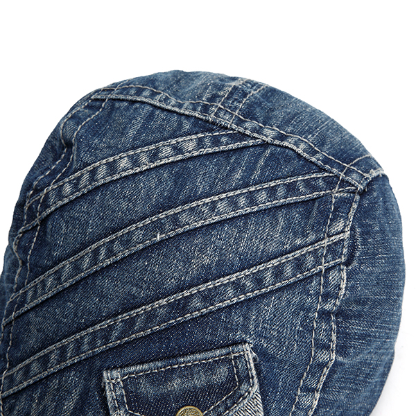 Fashion Mens Vintage Pocket Design Denim Beret Hat Duckbill Golf Buckle Cabbie Cap