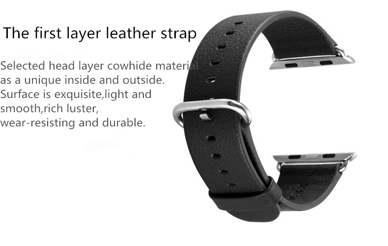 38mm PU Leather WirstWatchband Watch Strap With Stainless Steel Buckle For Apple Watch