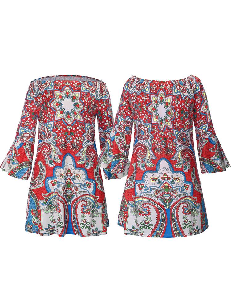 Sexy Women Off-The-Shoulder Flared Sleeve Boho Printed Mini Dresses