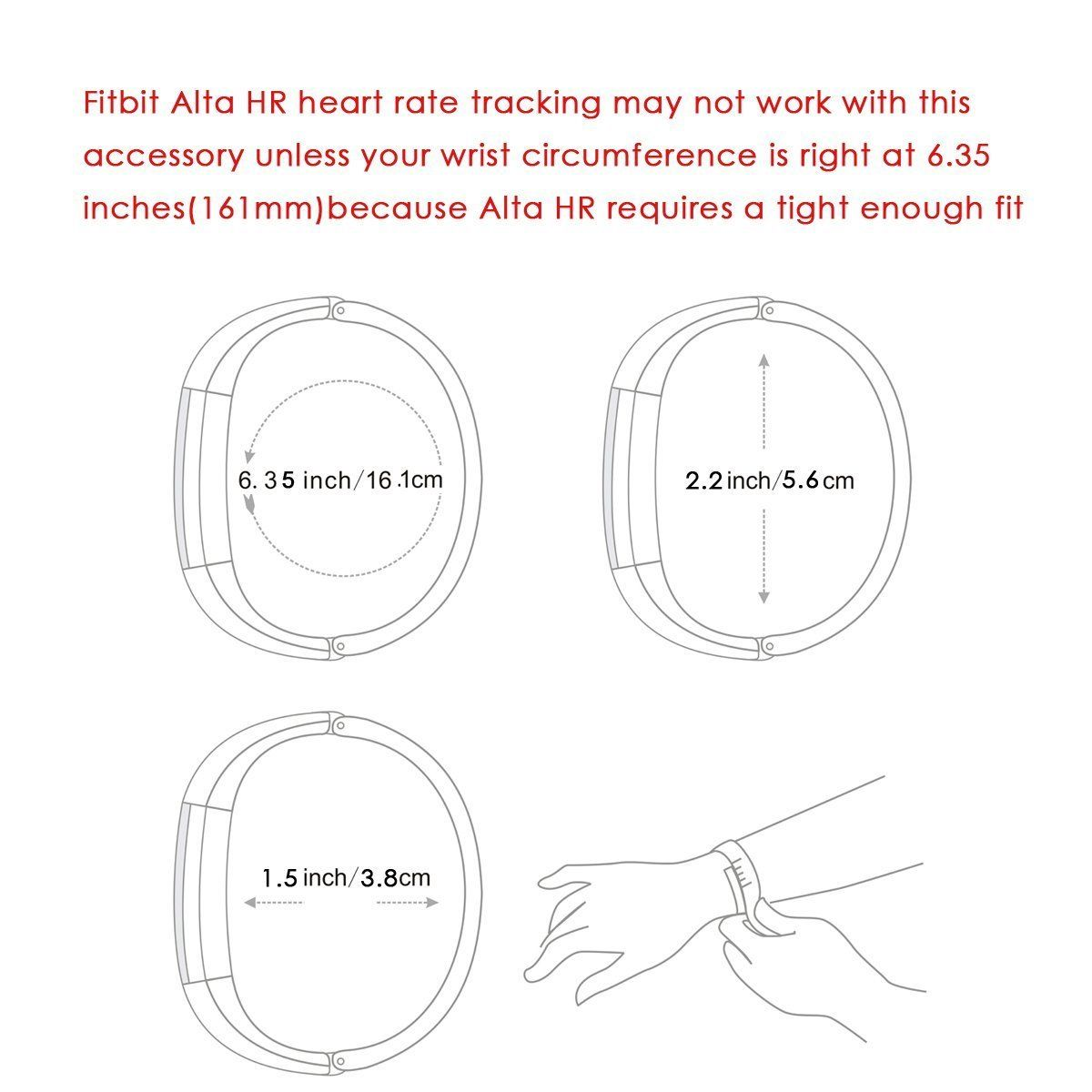 Replacement Classic Wrist Double Color Silicone Band Strap for Fitbit Alta HR Wristband
