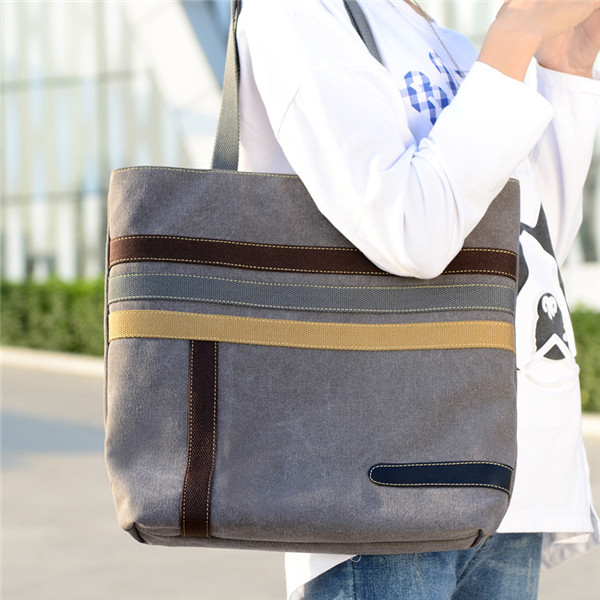 Women Stripe Canvas Tote Handbags Girls Casual Shoulder Bags Capacity Shopping Bags