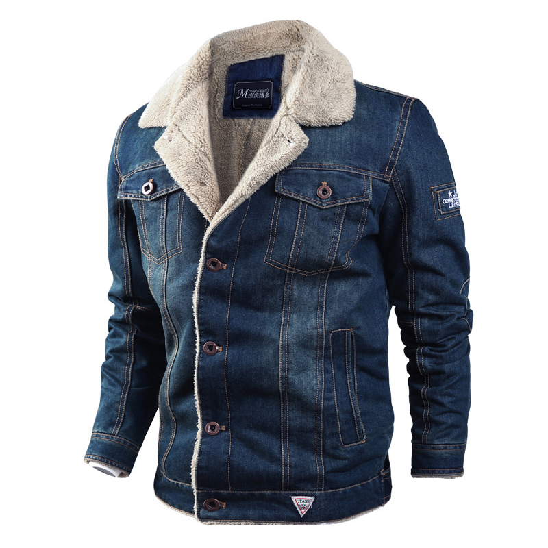 Mens Winter Thick Fleece Chest Pockets Warm Denim Jacket