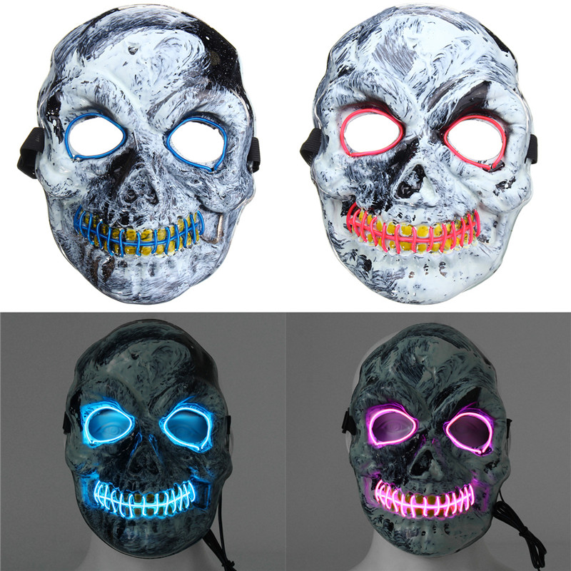 Novelties LED Skeleton Skull Mask Fancy Scary Halloween Adult Costume Accessory