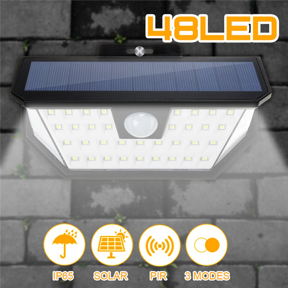48 LED Solar Powered Wall Light Wide Angle Motion Sensor Outdoor Fence Lamp IP65