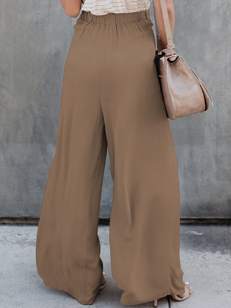 Women High Waist Front Tie Loose Casual Wide Leg Pants