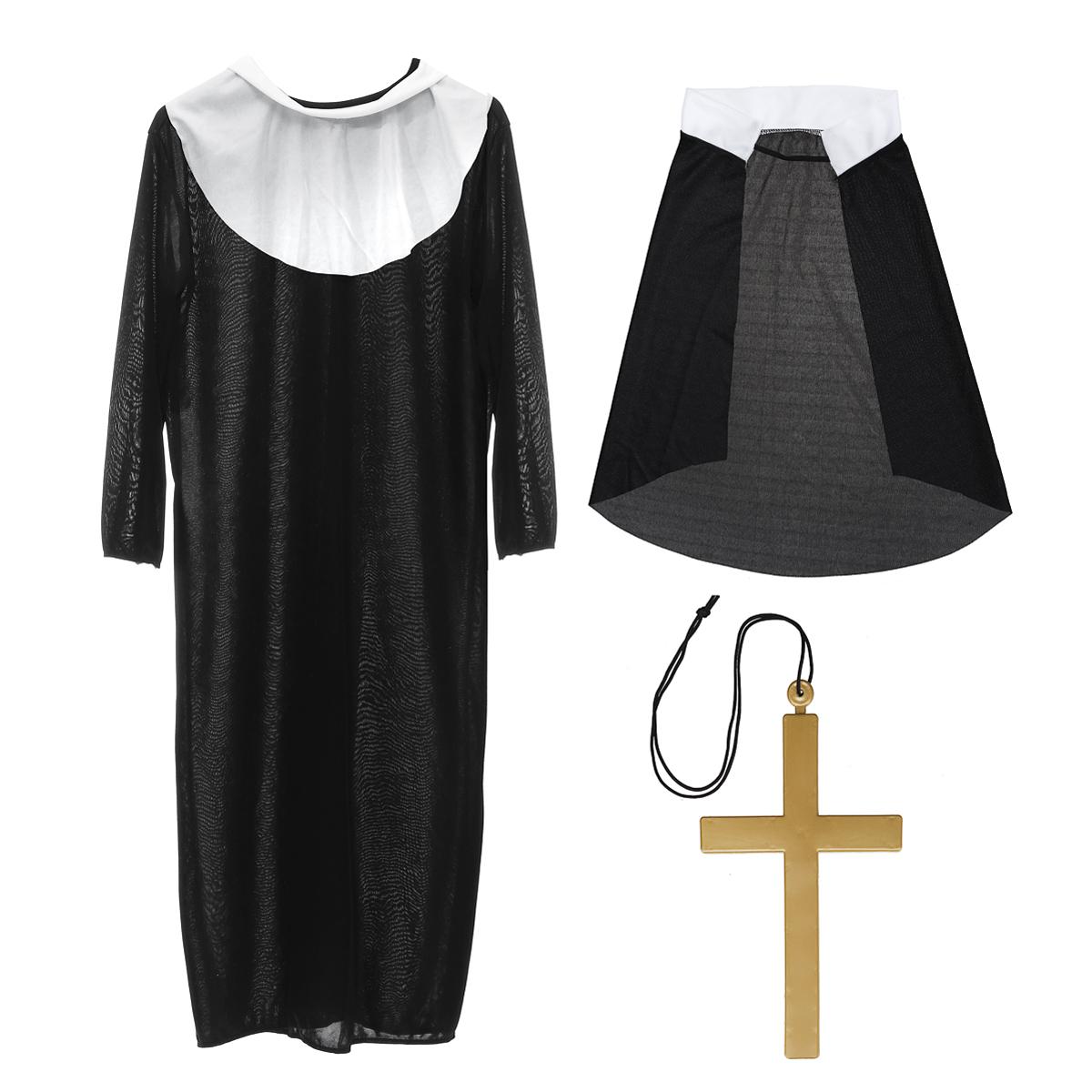 Three-piece The Horror Nun Costume Dreadful Women Adult Cosplay Robe Dress Suit Halloween