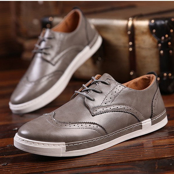 Men Lace Up Casual Sneaker Outdoor Oxfords In Leather