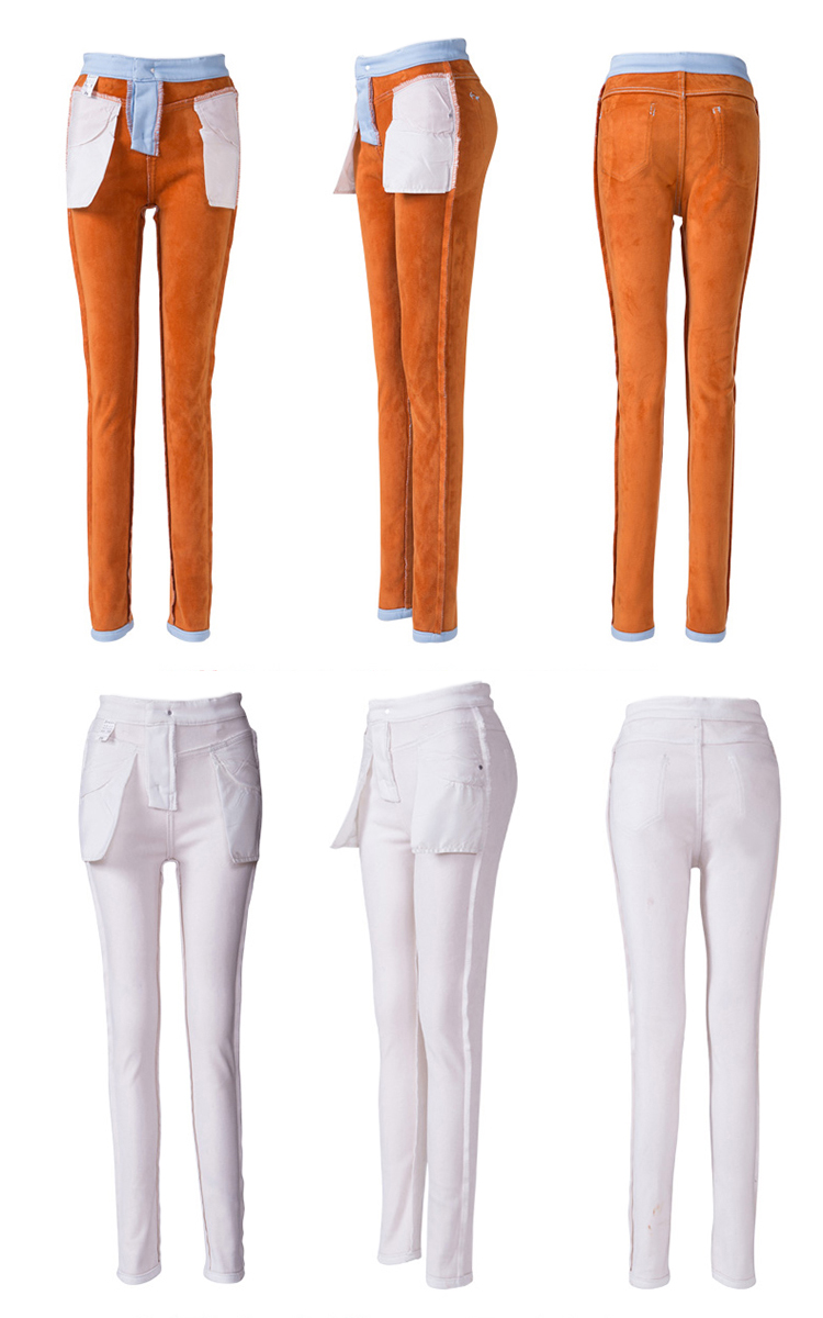 Casual Thick Slim Solid Color Mid Waist Women Skinny Jeans