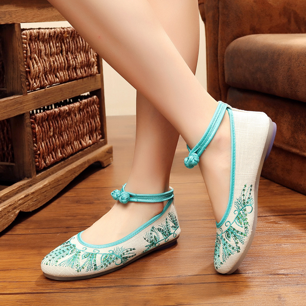 US Size 5-10 Women Casual Embroidery Floral Slip On Canvas Flat Shoes