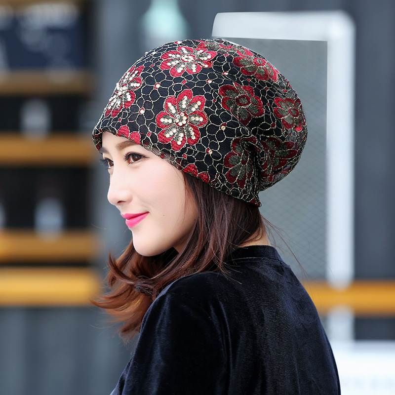 Women Lace Flower Rhinestone Breathable Skullies Beanie Caps