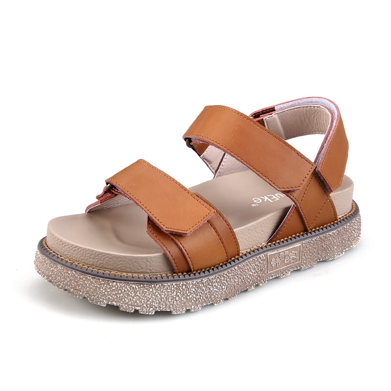 Women Rome Sandals Spring Autumn Leather Round Head Flat Platform Shoes Comfortable Non-slip