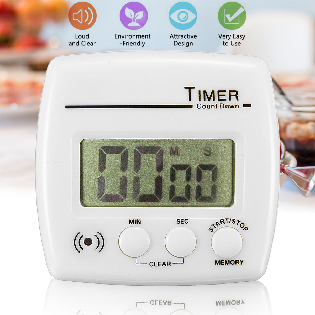 Digital LCD Power Programmable Timer Time Switch Magnetic Back and Stand 100 min