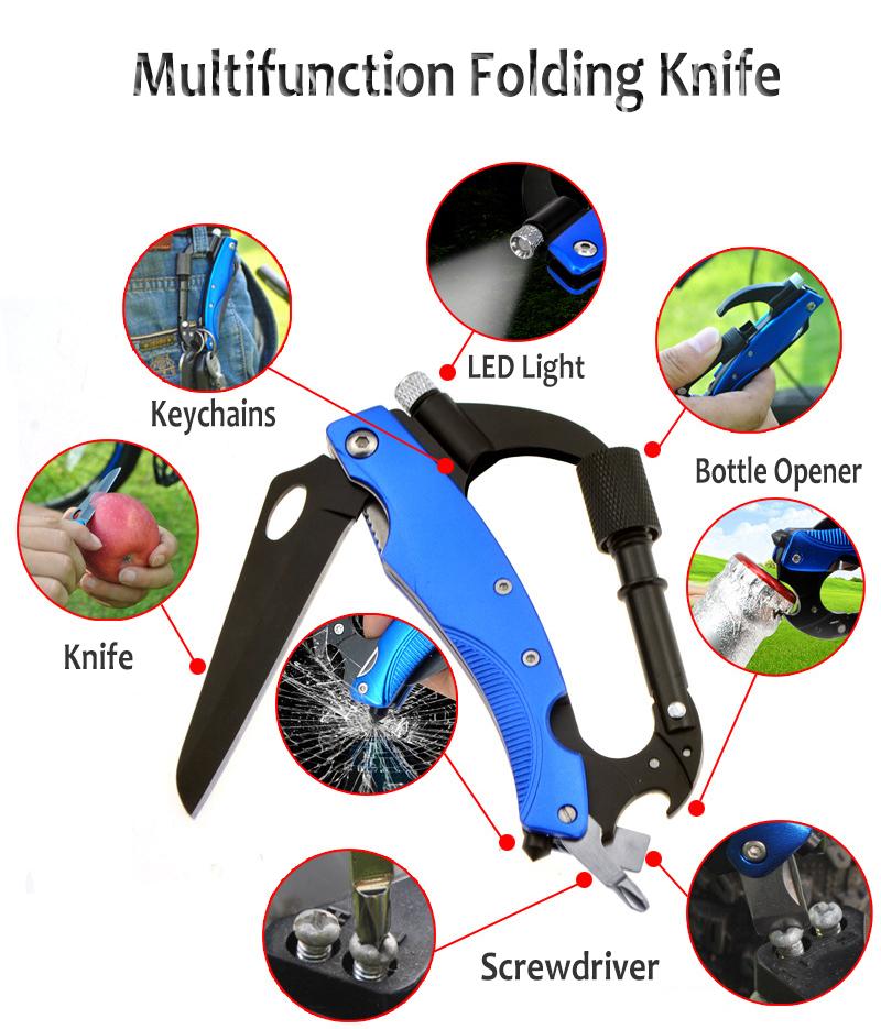 185mm 3CR13 Stainless Steel Multifunction Folding Knife Carabiner Hook Knife LED Flashlight