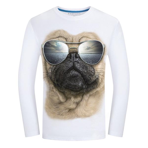 Fun 3D Sharpei Dog Sun Glassess Animal Printing T-shirts