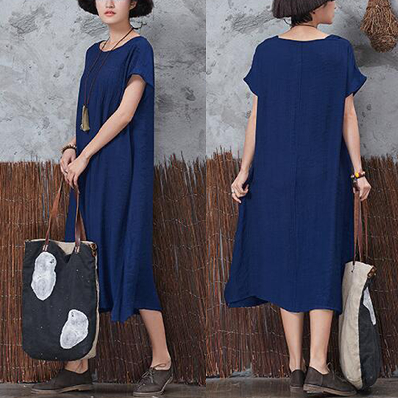 Casual Women Vintage Short Sleeve Pockets Dresses