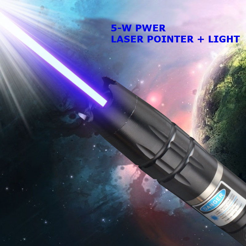Smiling Shark SS-L112 5W 250Lumens Portable Focusing Visible Beam Blue Laser Pointer+Light Star Cap
