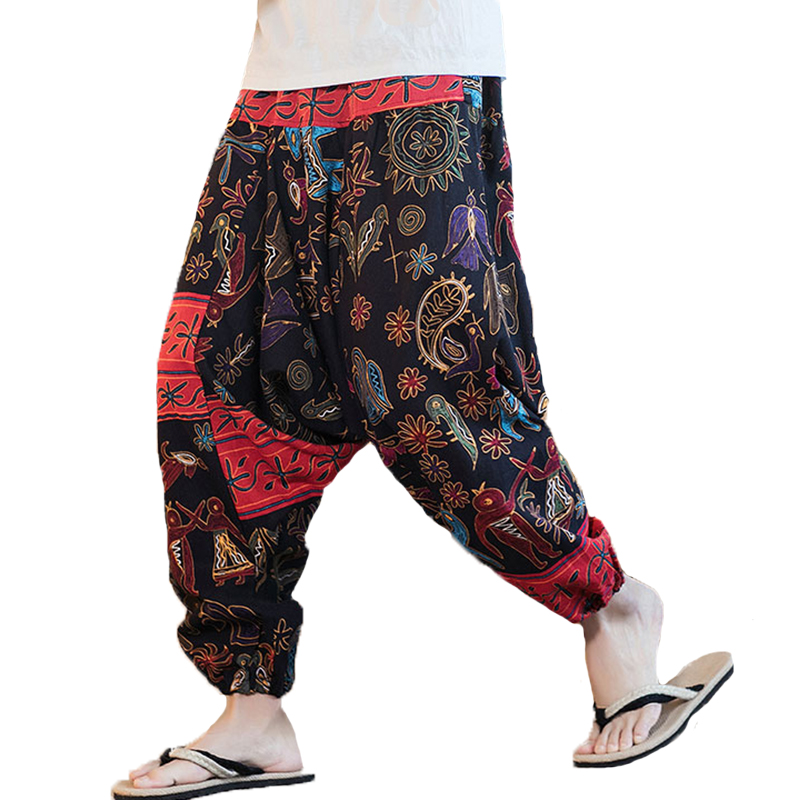 INCERUN Men Ethnic Printing Loose Casual Harem Trousers