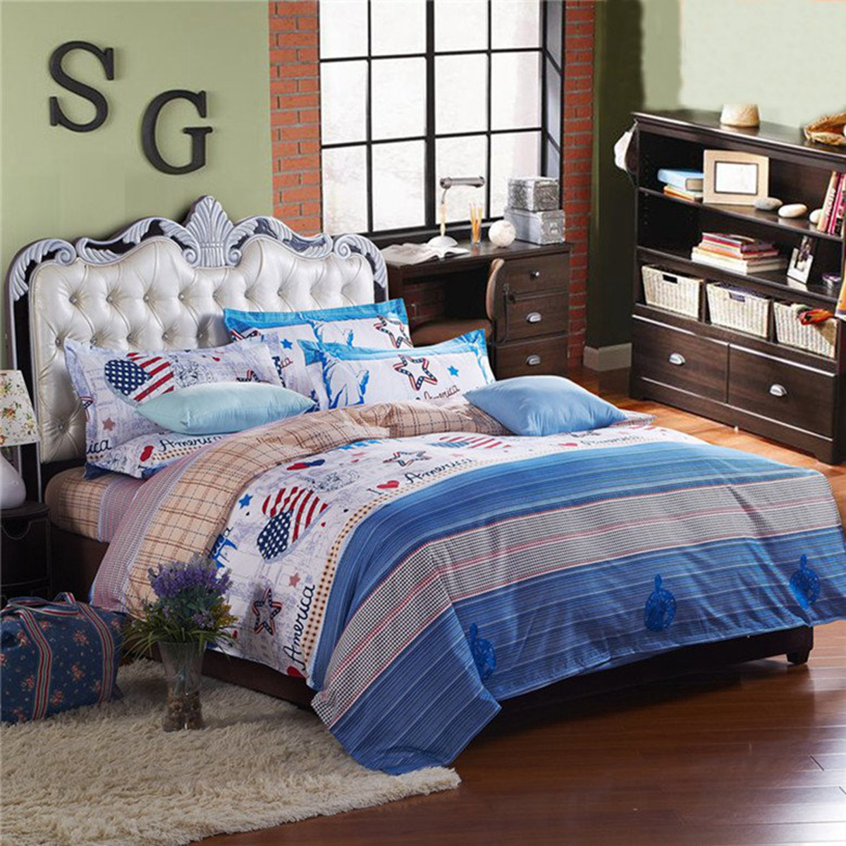 3 or 4pcs Suit Western Style Reactive Dyeing Polyester Fiber Bedding Sets Twin full Queen Size