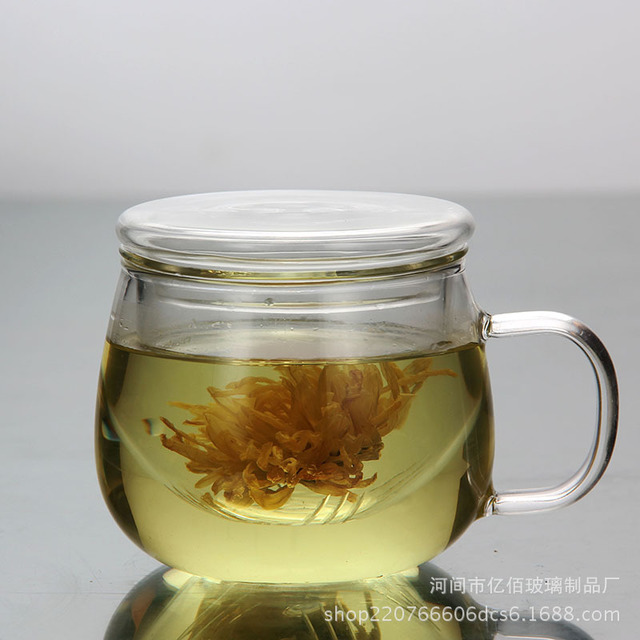 Heat Resistant High Temperature Flower Tea Cup Tea Cup Lady Drinking Tea Cup Round Fun Cup Transparent Belt Filter Office Cup Glass Tea Set