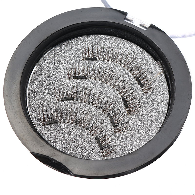 4Pcs Dual Magnetic 3D False Eyelashes Long Natural Eyelashes Extension