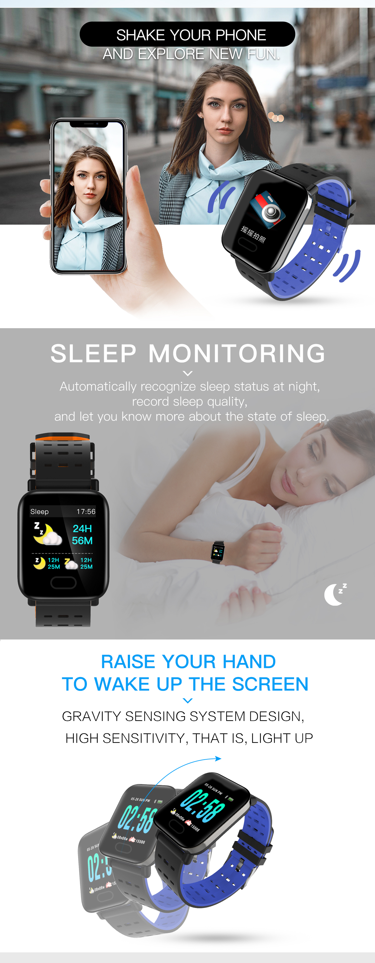 Bakeey M20 1.3' Big Screen Real Time HR Blood Oxygen Pressure Monitor Long Standby Sport Smart Watch 26